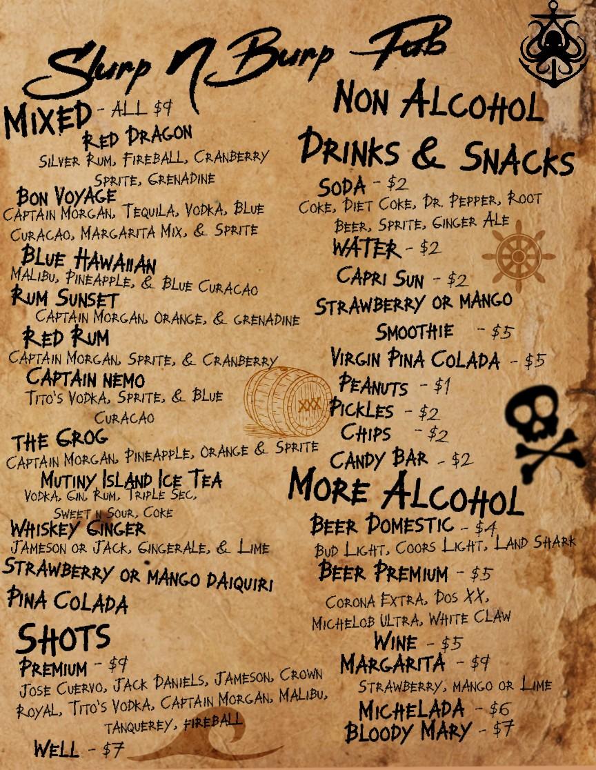 Slurp N Burp Pub Bar Menu
